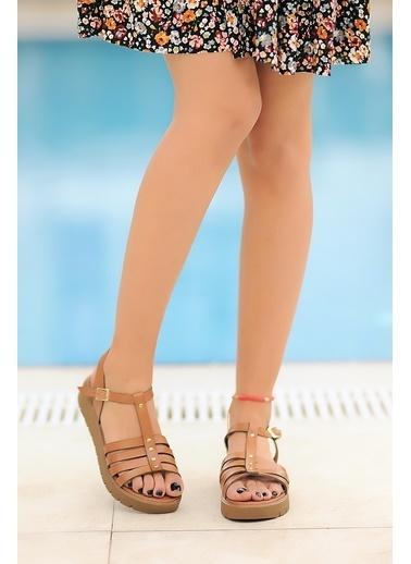Pembe Potin A307-20 Kadın sandalet Taba